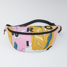 Keep Growing! Words on Colourful plant Fanny Pack
