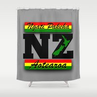 new zealand Shower Curtains featuring New Zealand  by mailboxdisco