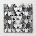 Textured Black And White Hearts - Abstract, geometric pattern by printpix