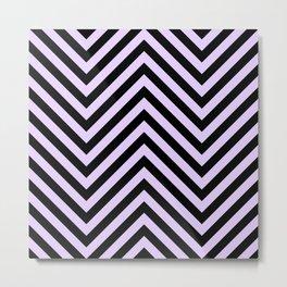 Large Lilac and Black Chevron Stripe Pattern Metal Print