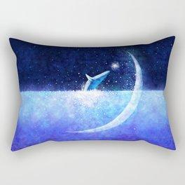 Blue whale and crescent Rectangular Pillow