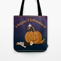 the hobbit Tote Bags featuring Hobbit Halloween by wolfanita