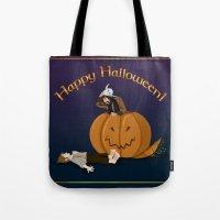 hobbit Tote Bags featuring Hobbit Halloween by wolfanita