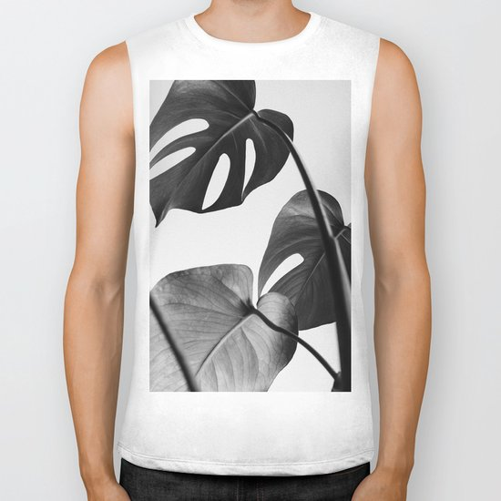 Black & white Monstera Biker Tank