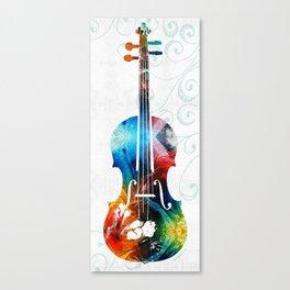 Colorful Violin Art by Sharon Cummings Canvas Print