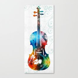 Colorful Violin Art by Sharon Cummings Canvas Print