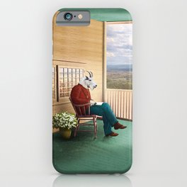 Mr Garwood Goat Reading on the Porch iPhone Case