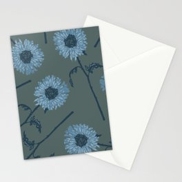 Winter Blues Tossed Floral Stationery Cards