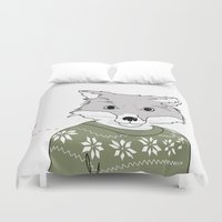 furry Duvet Covers featuring Furry Fox by Christina Heitmann