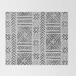 Line Mud Cloth // Light Grey Throw Blanket