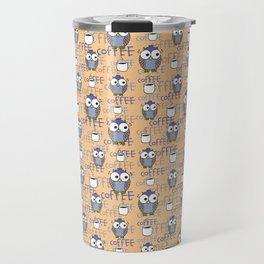Orange & Blue Owls pattern Travel Mug