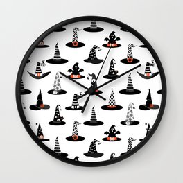 Halloween- Witch hats on White Wall Clock