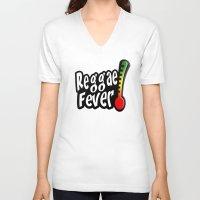 reggae V-neck T-shirts featuring Reggae Fever by Marvin Porcher