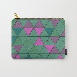 Pink Green Geometric Pattern Carry-All Pouch