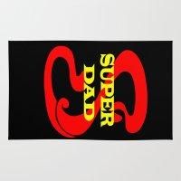 dad Area & Throw Rugs featuring Super Dad by Brian Raggatt