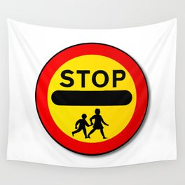 Stop Children Traffic Sign Wall Tapestry
