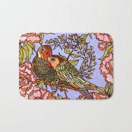 Lovebirds With Peony Wreath Bath Mat