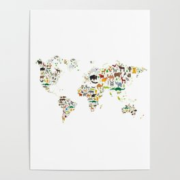 Cartoon animal world map for children and kids, Animals from all over the world on white background Poster