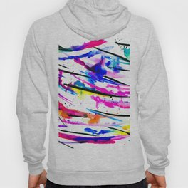 Modern bright abstract pink black multicolor watercolor brushstrokes Hoody
