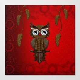 Wonderful steampunk owl on red background Canvas Print