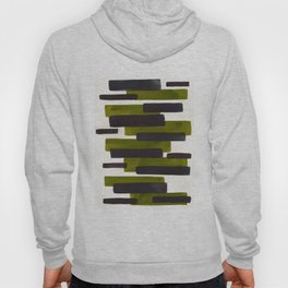 Olive Green Primitive Stripes Mid Century Modern Minimalist Watercolor Gouache Painting Colorful Hoody