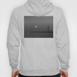 Black and white Moon over Thacher Island Hoody