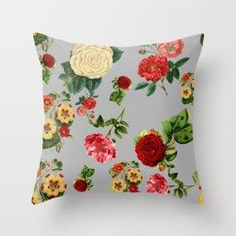 Grey vintage roses Throw Pillow