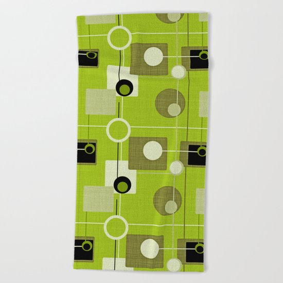 orbs and squares acid green Beach Towel