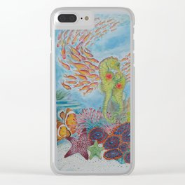 Happy Seahorse Family and Ocean Friends Clear iPhone Case