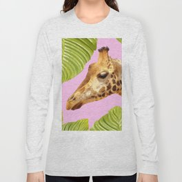 Giraffe with green leaves on a pink background Long Sleeve T-shirt