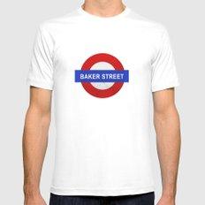 Sherlock Baker Street Print White Mens Fitted Tee MEDIUM