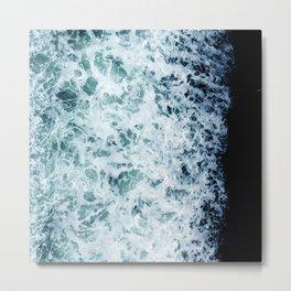 Emerald-Opal-Color Ocean Waves Enveloping Black Sand Beach Metal Print