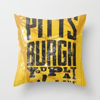 steelers Throw Pillows featuring Pittsburgh Steelers by Sciulli