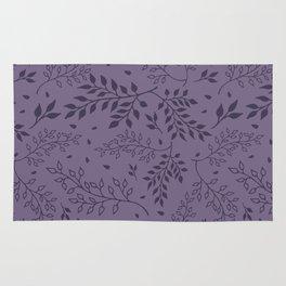 Leaves Illustrated Rum Purple Rug