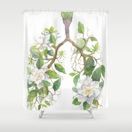Floral Lungs Anatomy with Flowers, Breathing Gardenia Shower Curtain