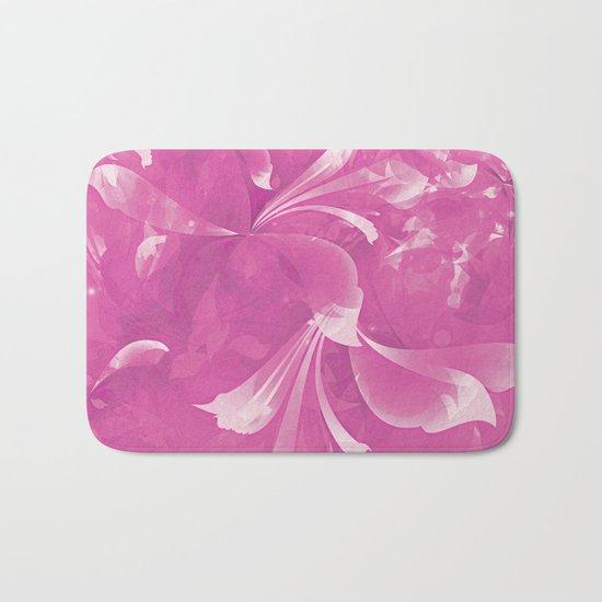 Stylized flowers in pink Bath Mat