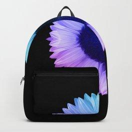 Iridescent Geometric Sunflower Decor \\ Symmetrical Flowers Pink Purple Blue Nature Bohemian Style Backpack