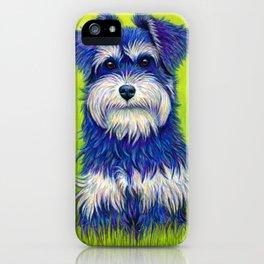 Colorful Miniature Schnauzer Dog Pet Portrait iPhone Case