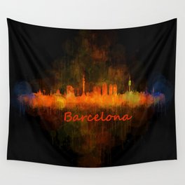 Barcelona City Skyline Hq _v4 Wall Tapestry