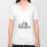 islam V-neck T-shirts featuring Dolmabahce Mosque by Nikoloz Lekveishvili