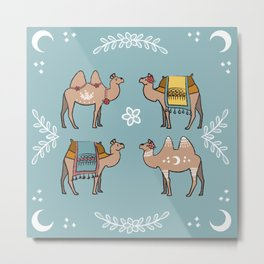 Camel Beauty Contest Mandala Metal Print