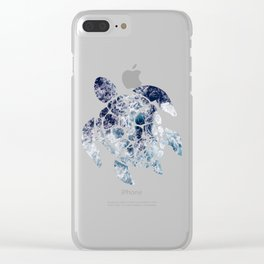 Sea Turtle - Blue Ocean Waves Clear iPhone Case