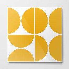 Mid Century Modern Yellow Square Metal Print