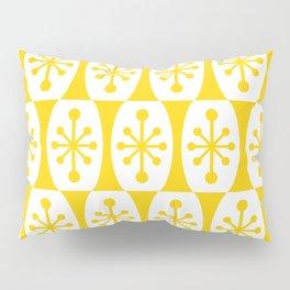 Mid Century Modern Atomic Fusion Pattern Yellow Pillow Sham