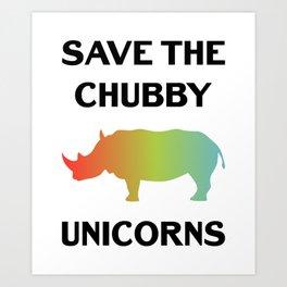 Save The Chubby Unicorns Funny Vintage Retro Rhino Shirt Gift Art Print