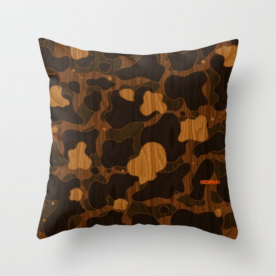Modern Woodgrain Camouflage / Duck Print Throw Pillow