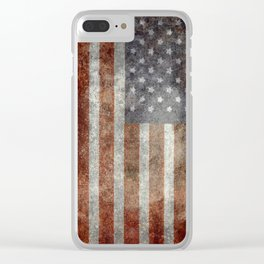 USA flag - Old Glory in dark grunge Clear iPhone Case
