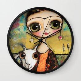 Frida Kahlo and the white coat Wall Clock
