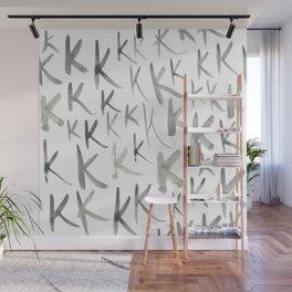 Watercolor K's - Grey Gray Wall Mural