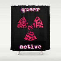 queer Shower Curtains featuring Queer Active by Stranger In Parts